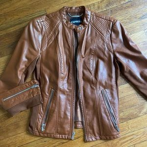 Express brown leather moto jacket!!
